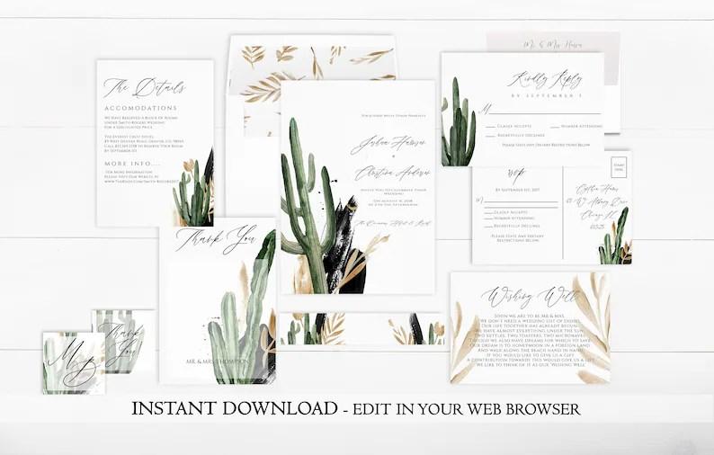 Desert Wedding Invitation Set Template Printable Cactus Etsy