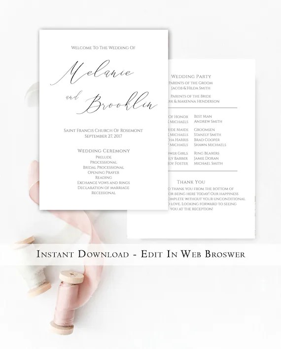 Printable Wedding Program Template Instant Download Simple Etsy