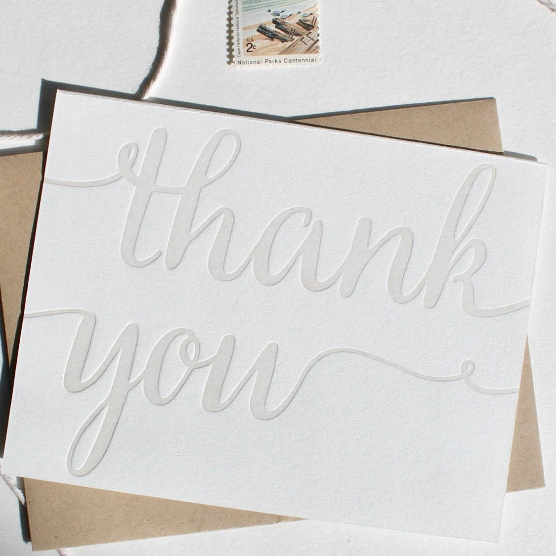 Letterpress Thank you card set folded thank you cards in Etsy