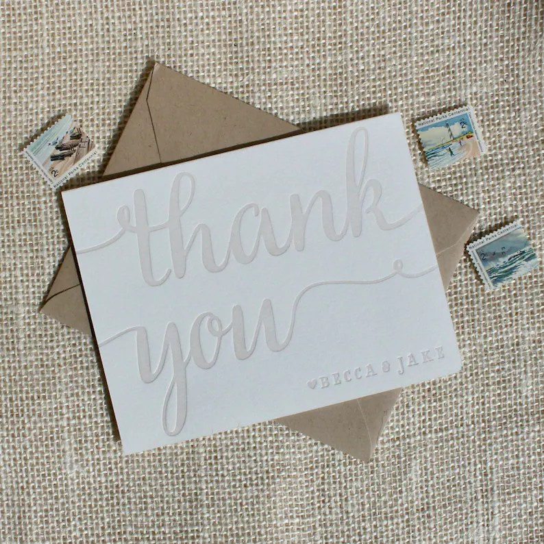Letterpress Thank you card set customized with names folded Etsy