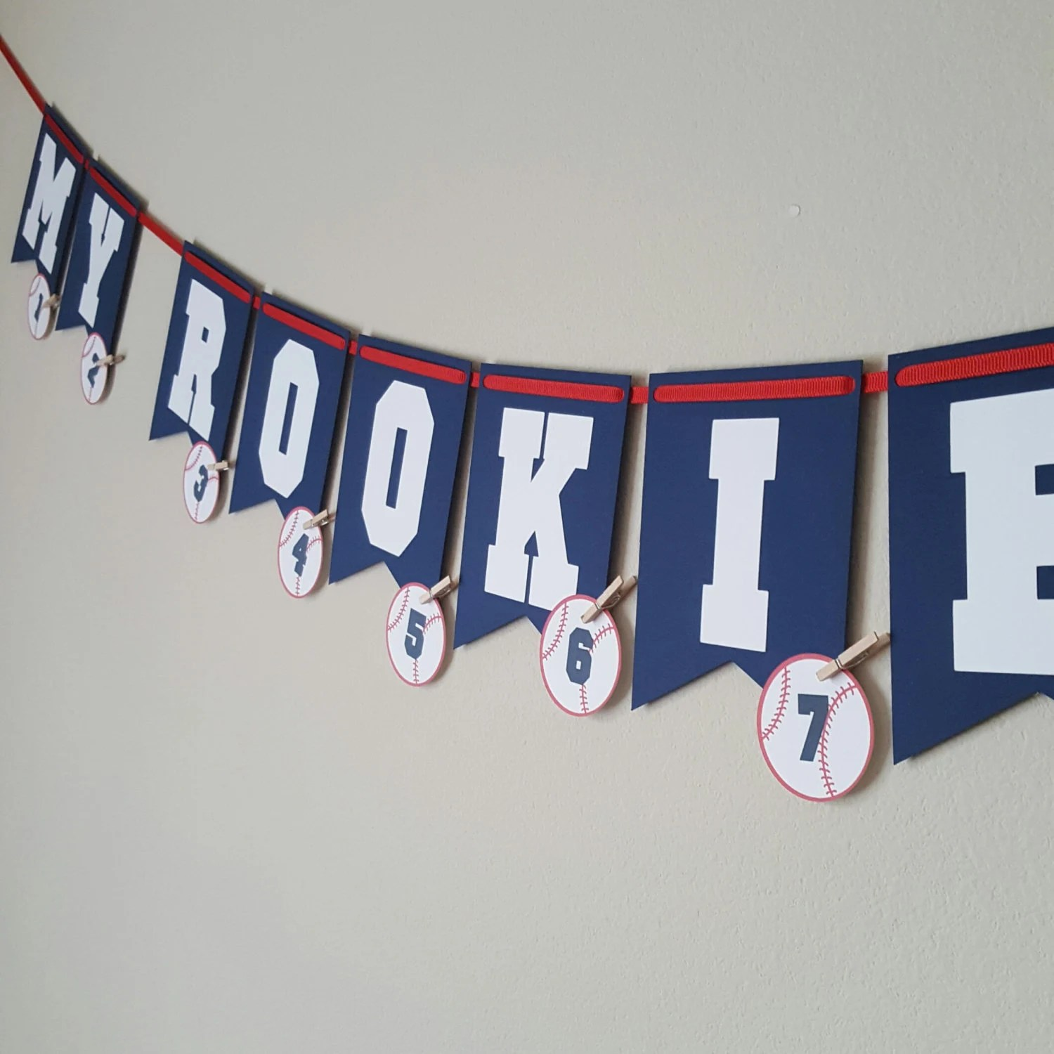 Baby Baseball Banner My Rookie Year 1st Birthday Banner Etsy