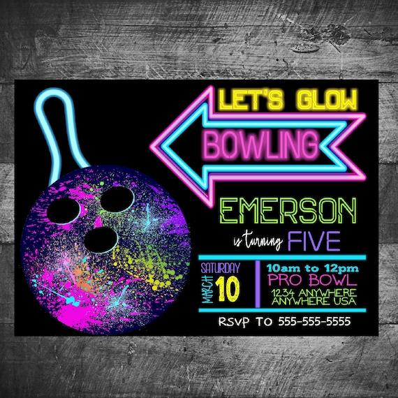 Neon Glow Bowling Birthday invitation, Bowling invitation, Neon