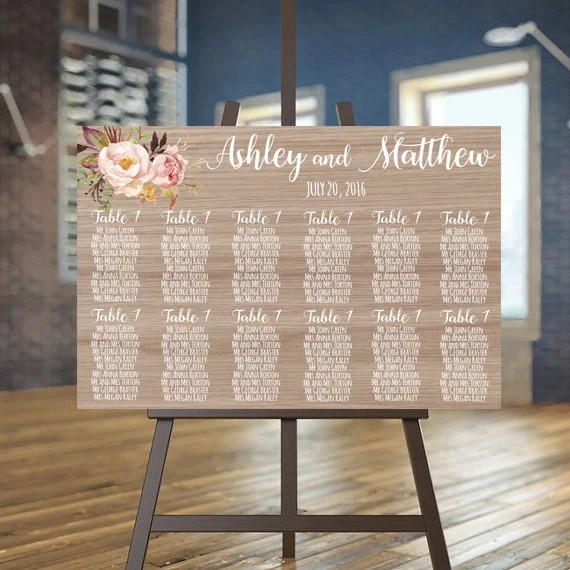 Wedding seating chart printable Wood guests list printable Etsy