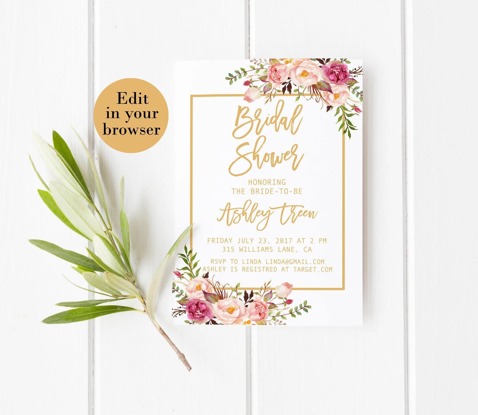 Bridal shower invitation template Editable bridal shower Etsy