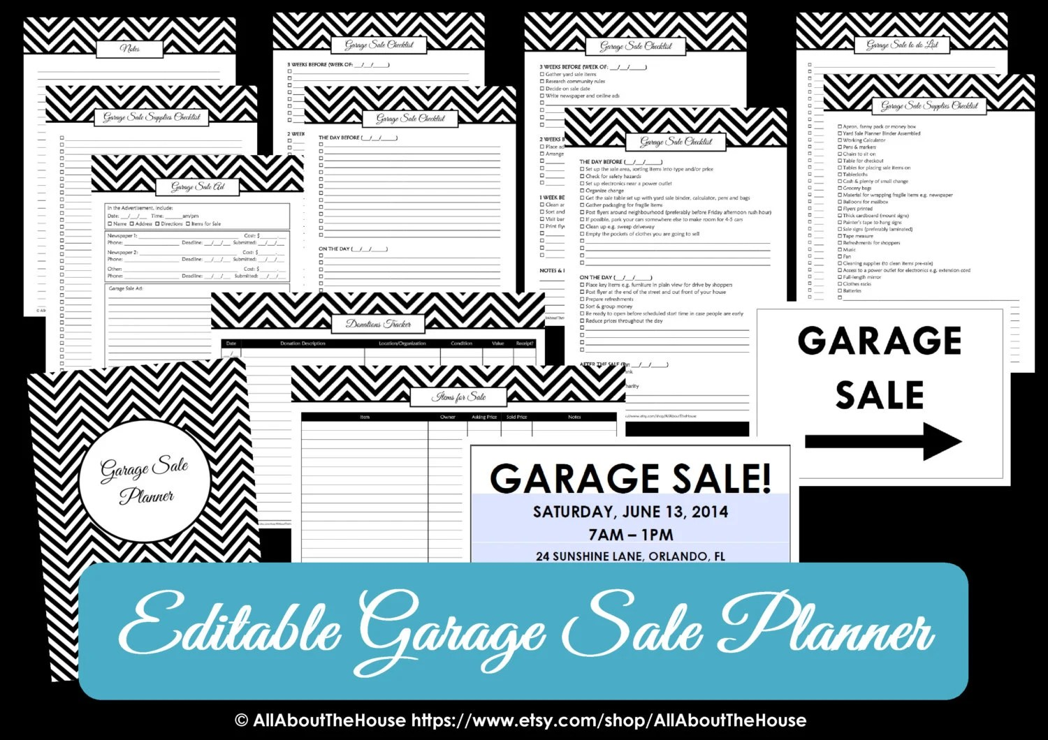 BLACK EDITABLE Garage Sale Planner yard sale Organizer Printables