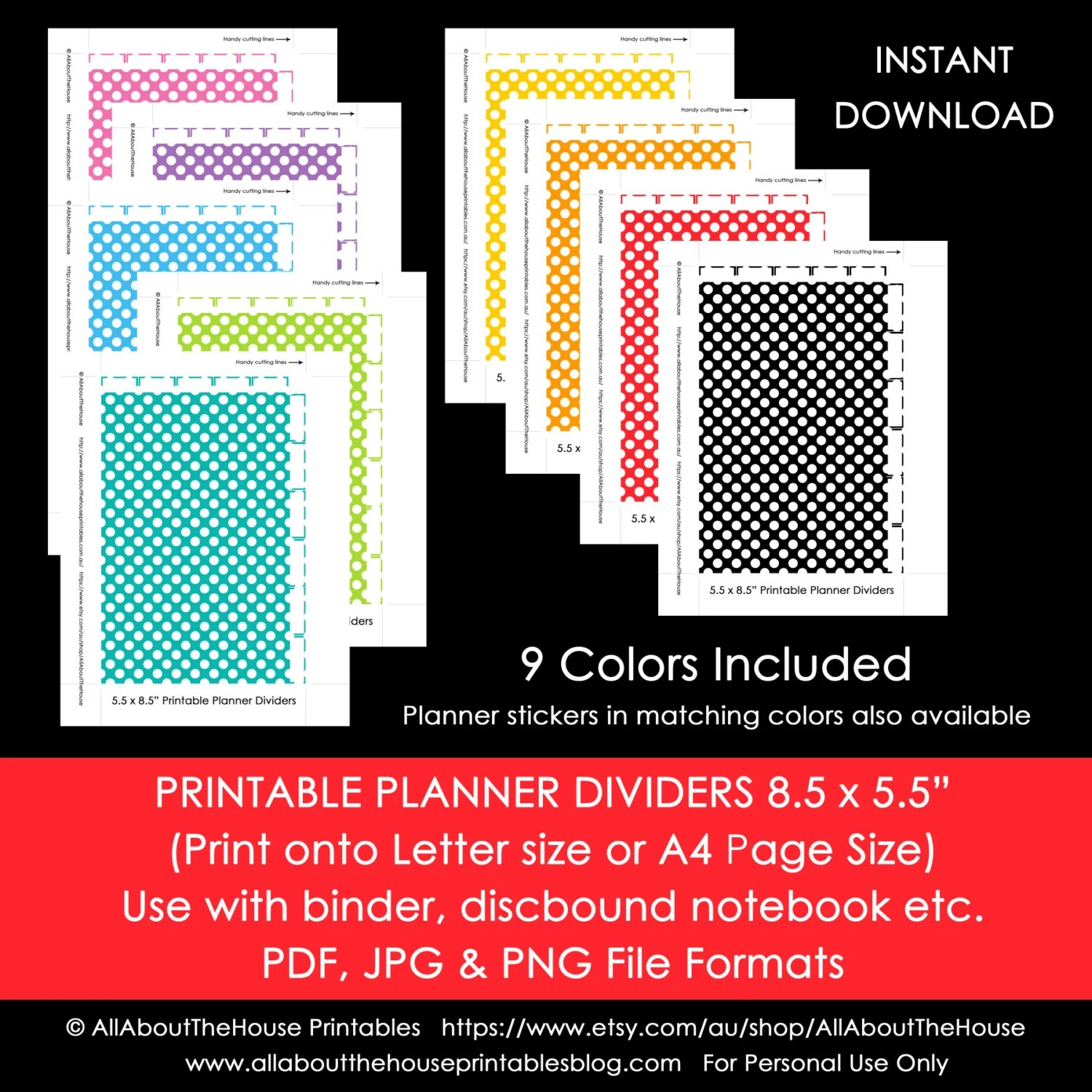 Planner Dividers Half Size Polka Dot Tabbed A5 Junior Arc Printable
