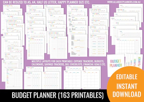 Budget Planner printable editable bill due expenses monthly annual