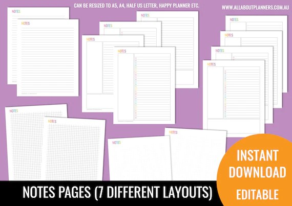 Notes page printable planner insert refill bullet journal graph