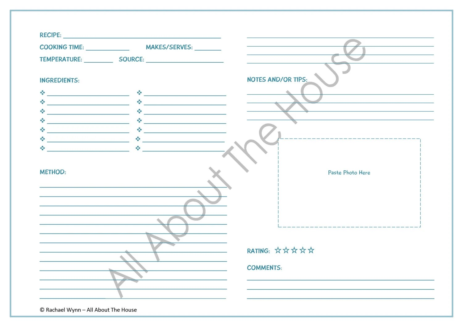 EDITABLE Printable Recipe Sheet Template - Meal Planning - Product