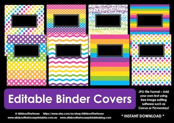 EDITABLE Printable binder cover notebook planner cover school recipe
