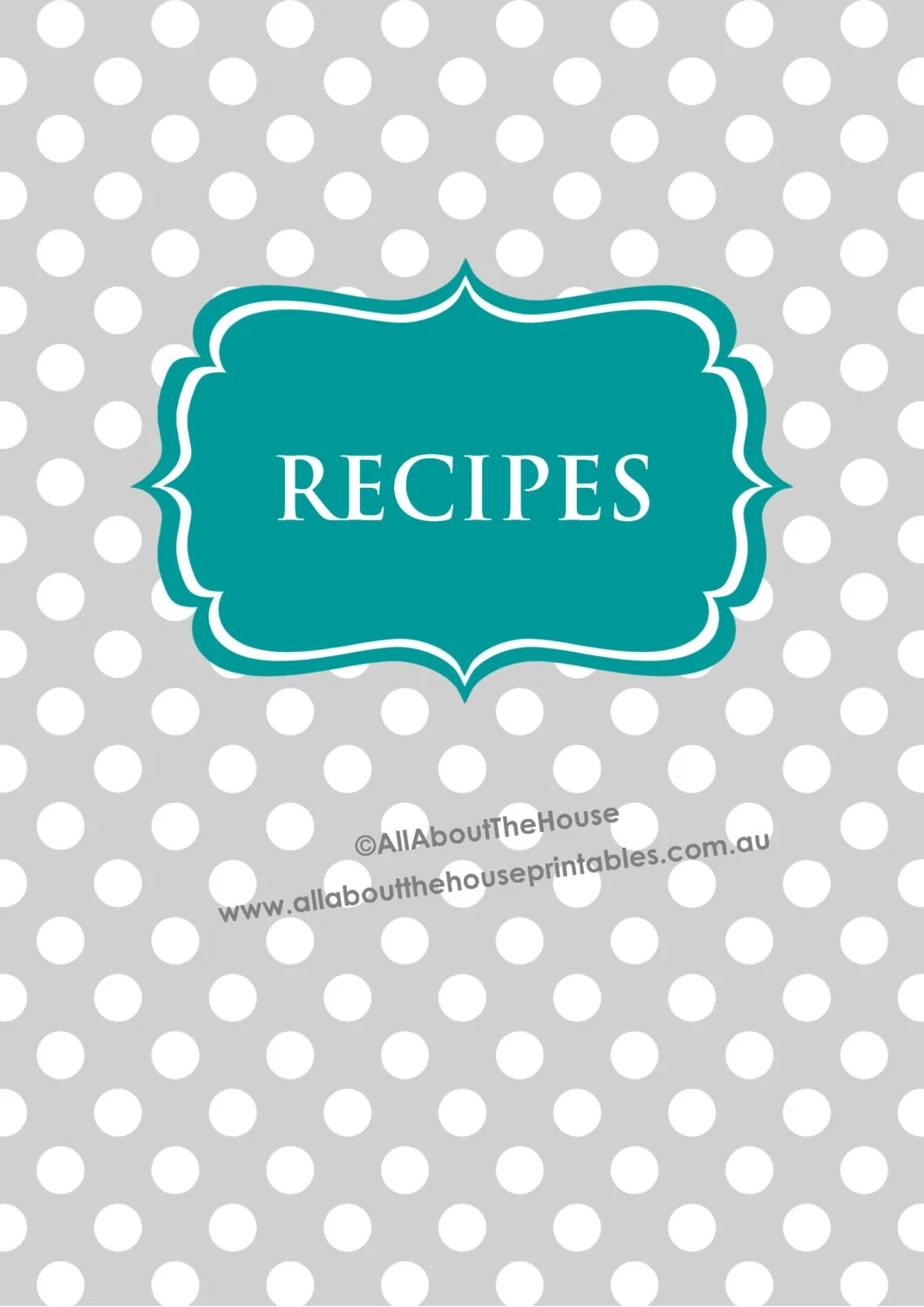Recipe Binder Printable Recipe Sheet Recipe Card EDITABLE polka dot