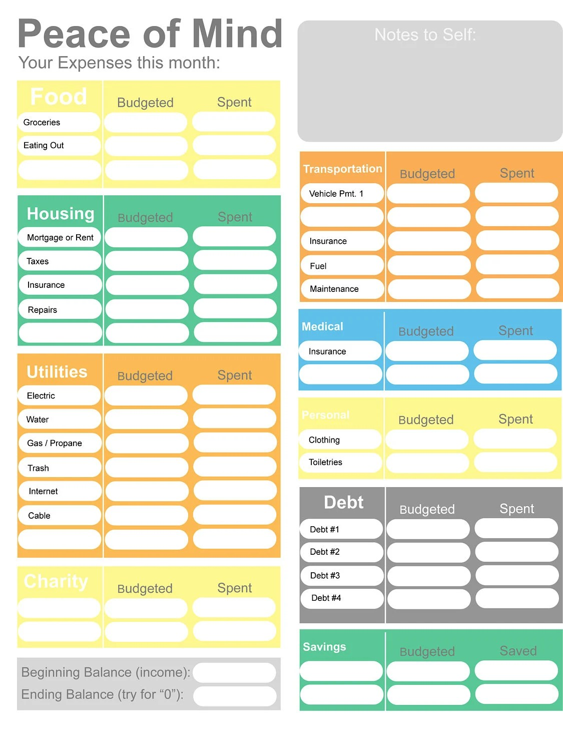 Printable Budget home budget worksheet colorful budget form Etsy