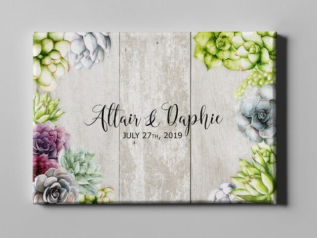 SALE 50 Off Canvas Guest Book, Rustic Succulent Wedding GuestBook