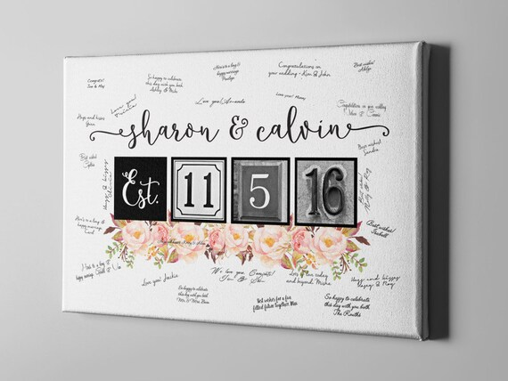 SALE 50 Off Canvas Guest Book Sweet Floral Wedding Guest Etsy