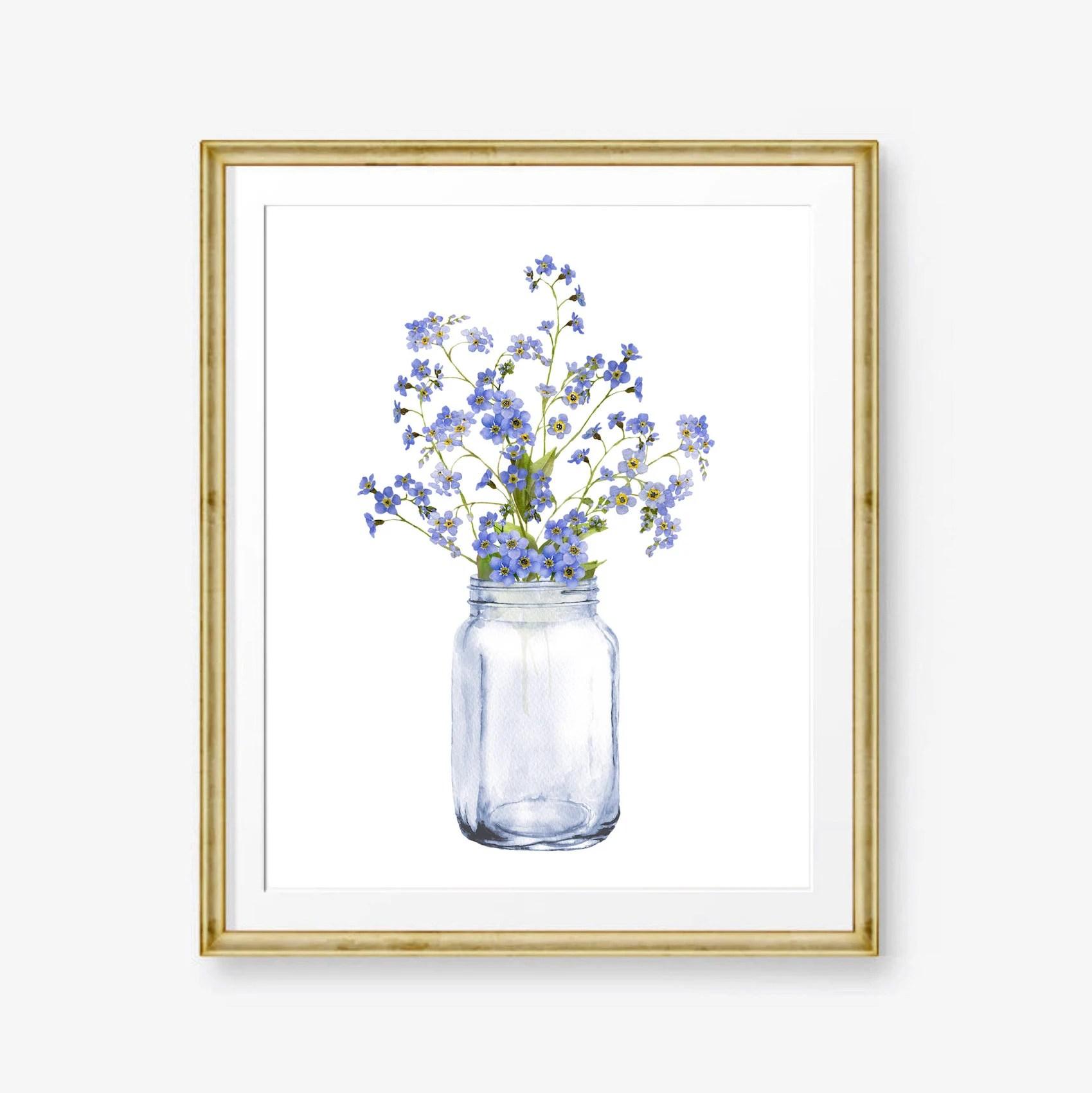 Watercolor Flowers Wall Art Blue Forget Me Not Print Digital Etsy
