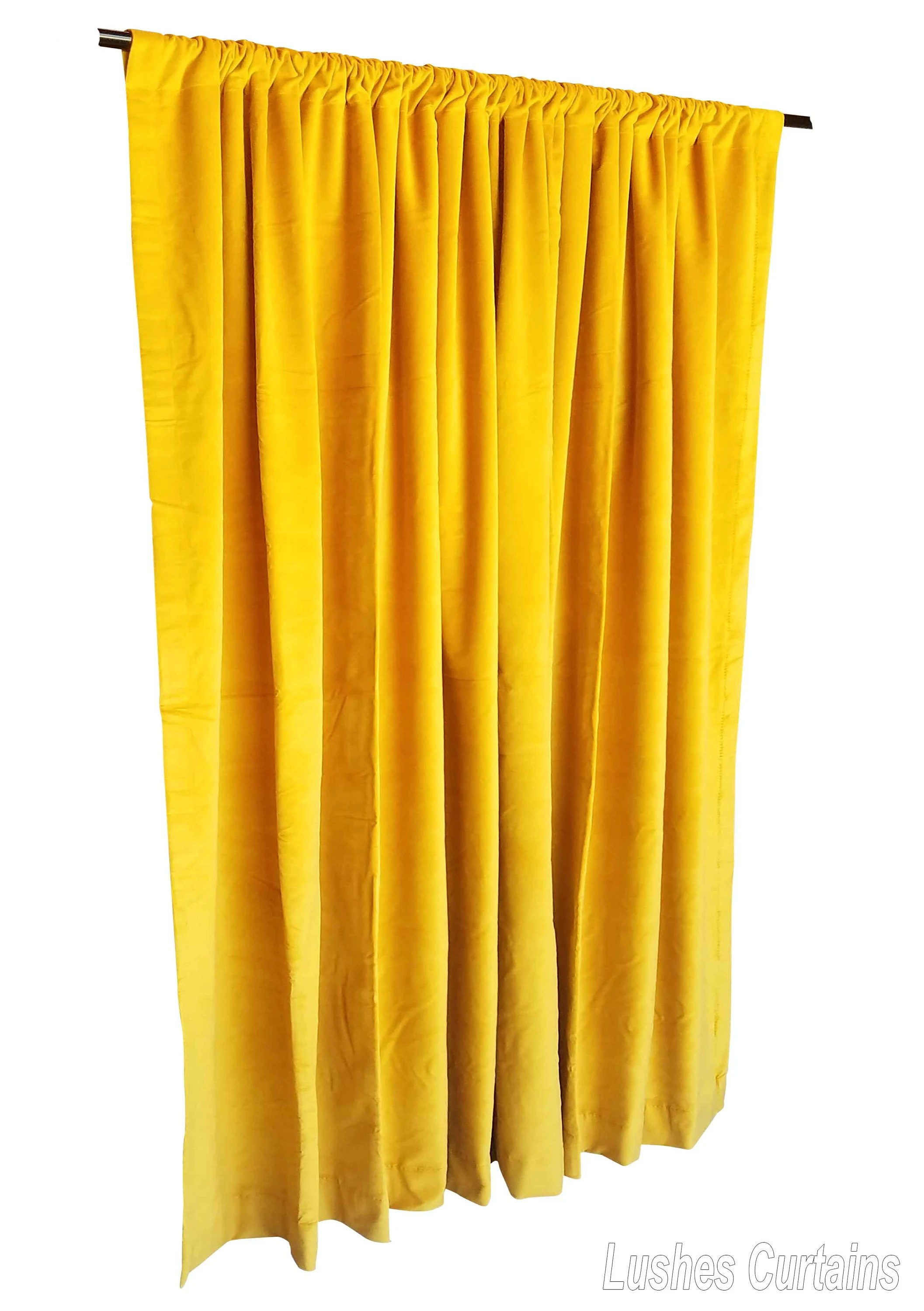 Heavy Thermal Curtains Heavy Thick Yellow Cotton Velvet Curtain Panel 96 Inch Long Drape Custom Made Size Thermal Energy Efficient Noise Reduction Soundproofing