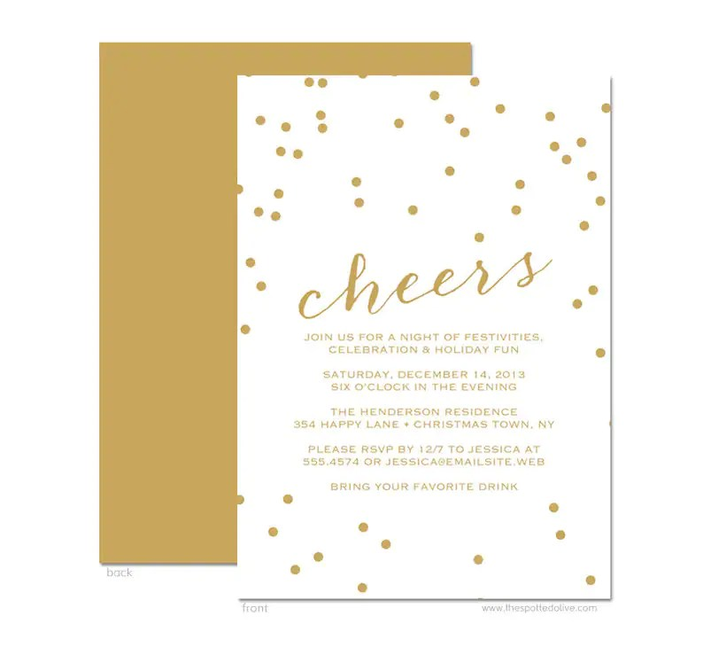 Gold Confetti Holiday Party Invitations Printed Cards Etsy