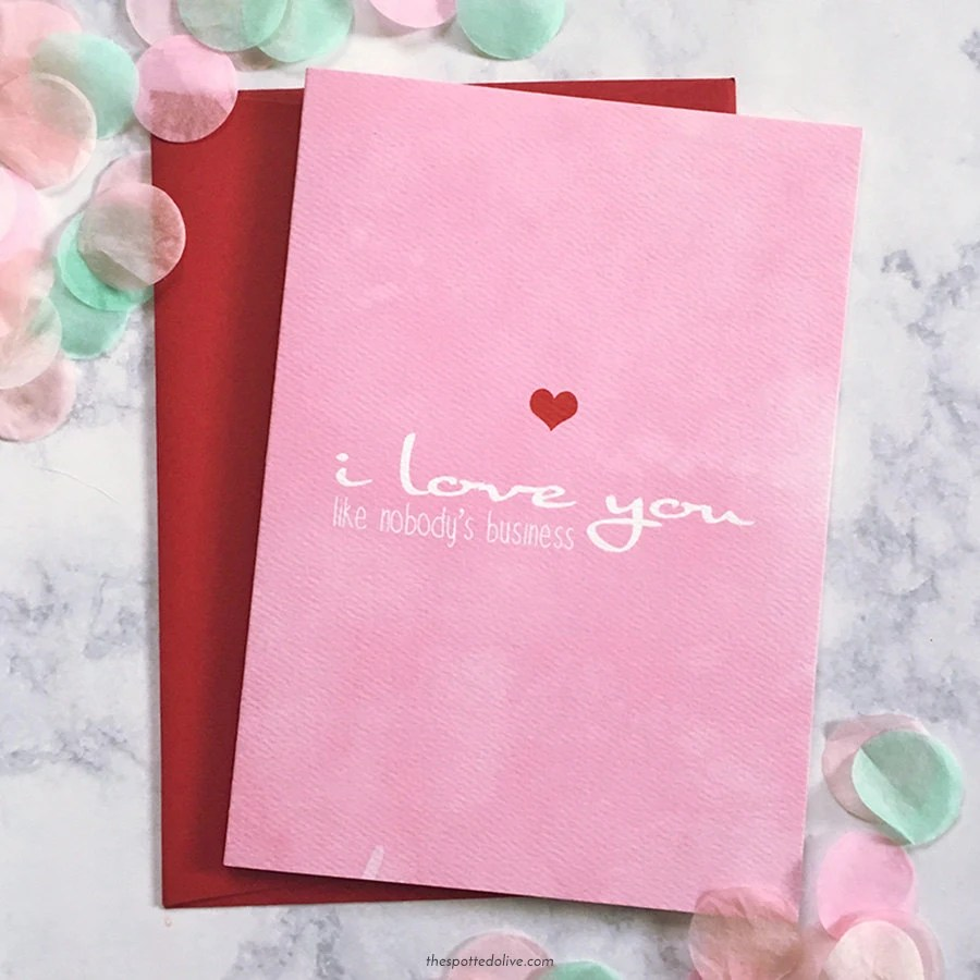 I Love You Valentine Card - Love Greeting Cards - Anniversary Card