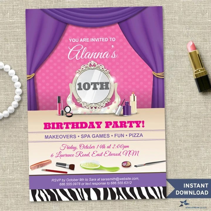 Printable Makeover Spa Tween Birthday Party Invitation Template, 5