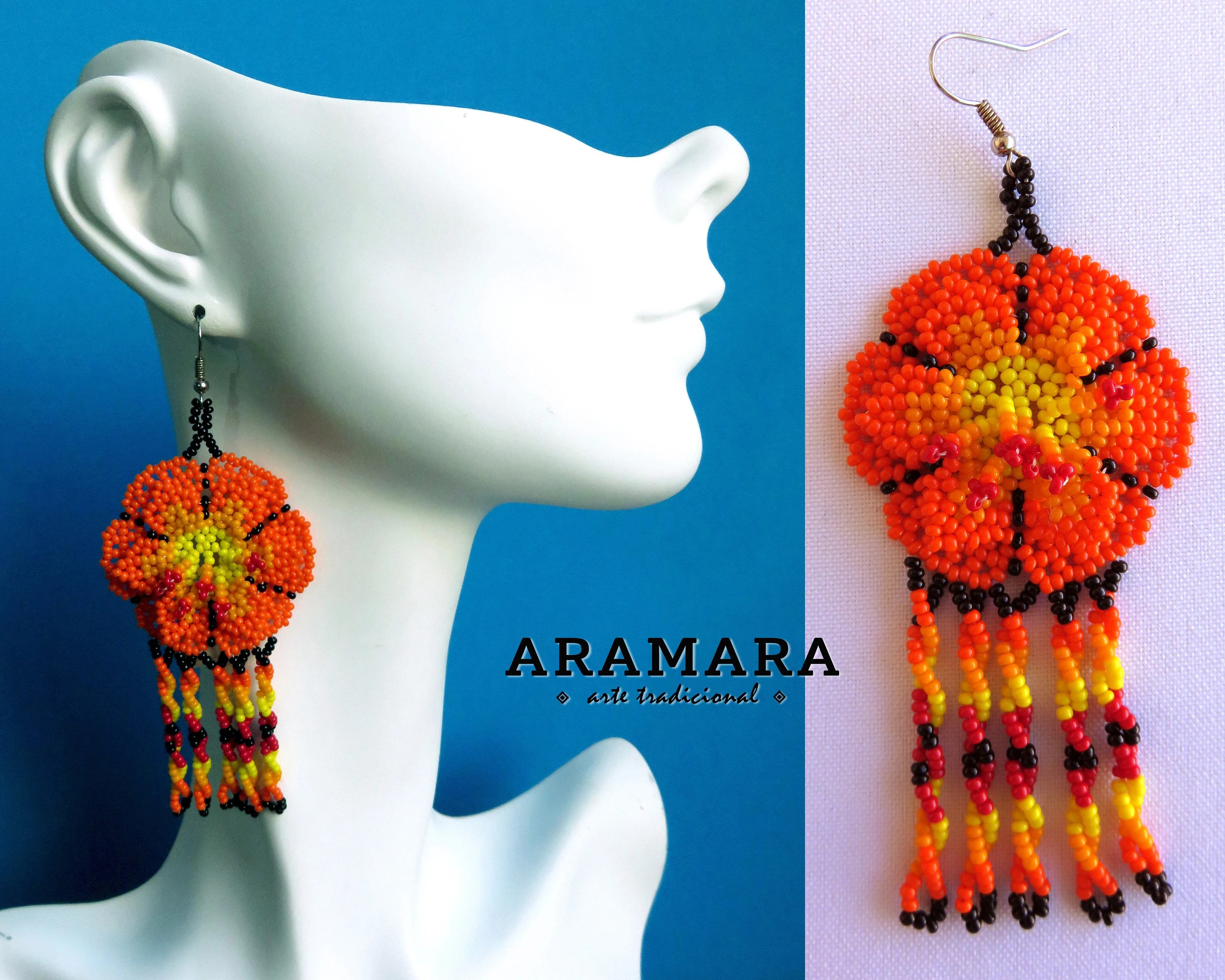 Arte Huichol For Sale Mexican Folk Art Huichol Earrings Native American Earrings Mexican Jewelry Flower Earrings Beaded Flower Mexican Earrings Af 0663