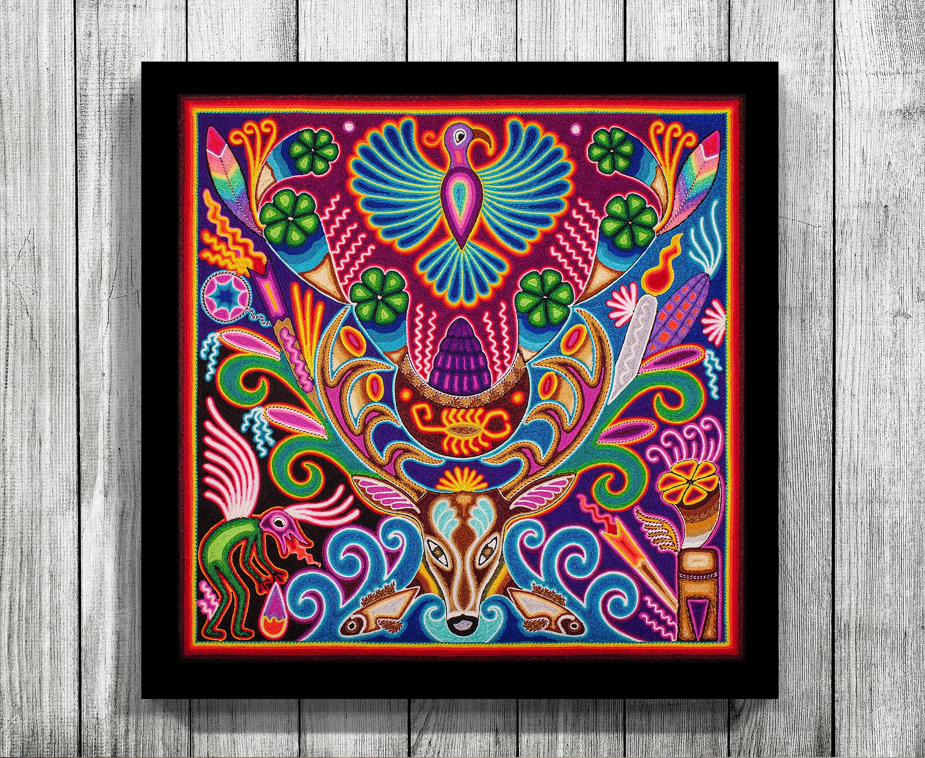 Arte Huichol For Sale Mexican Wall Art Huichol Print Mexican Decor Huichol Art Digital Print Mexican Print Mexican Painting Mexican Digital Art Mexican Art