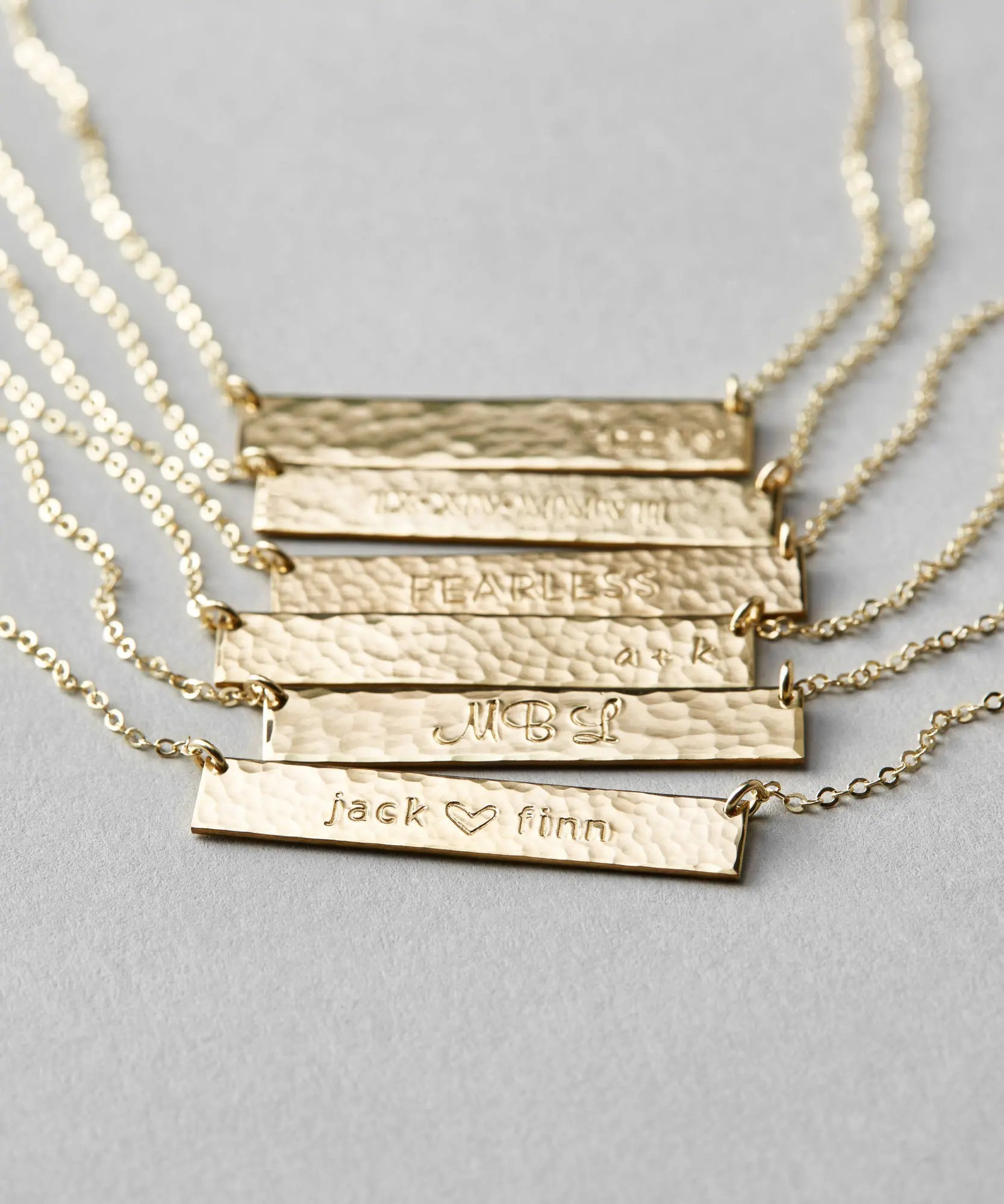 Customized Hammered Name Bar Necklace / Personalized OR Blank Etsy