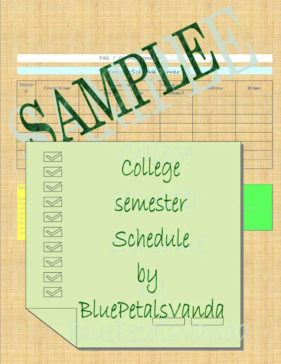 College Student A Semester Schedule for College Students Etsy