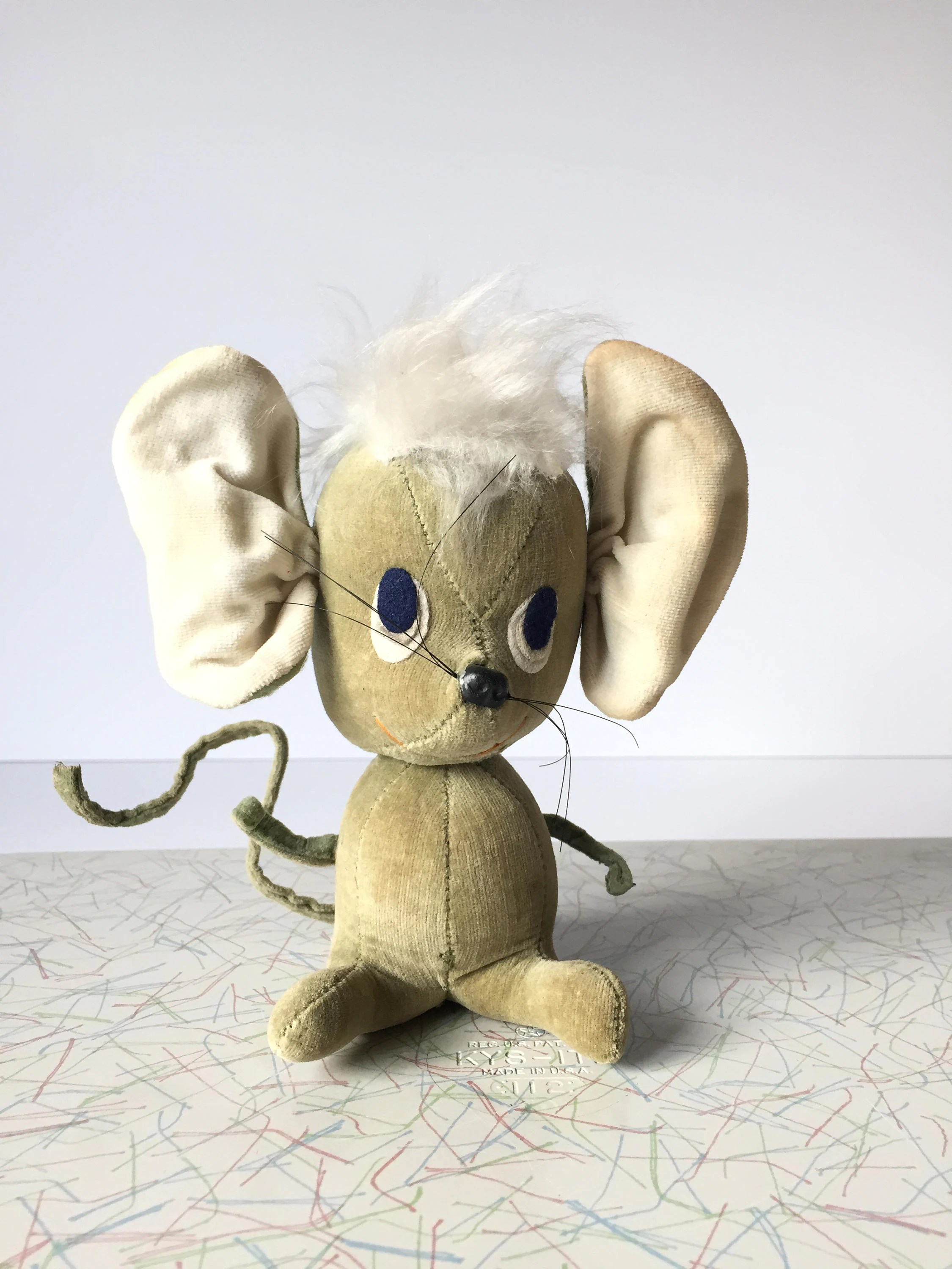 Kamar Vintage Vintage Kamar Stuffed Mouse Collectable Animal Mid Century Toy 1960 S Plush Toy Big Ear Mouse Kitschy Decor Made Japan Free Shipping