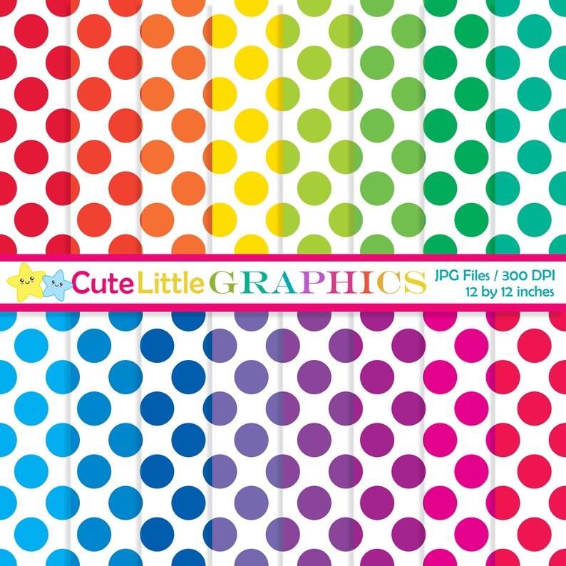 Big polka dots digital paper pack Bright polka dot pattern Etsy