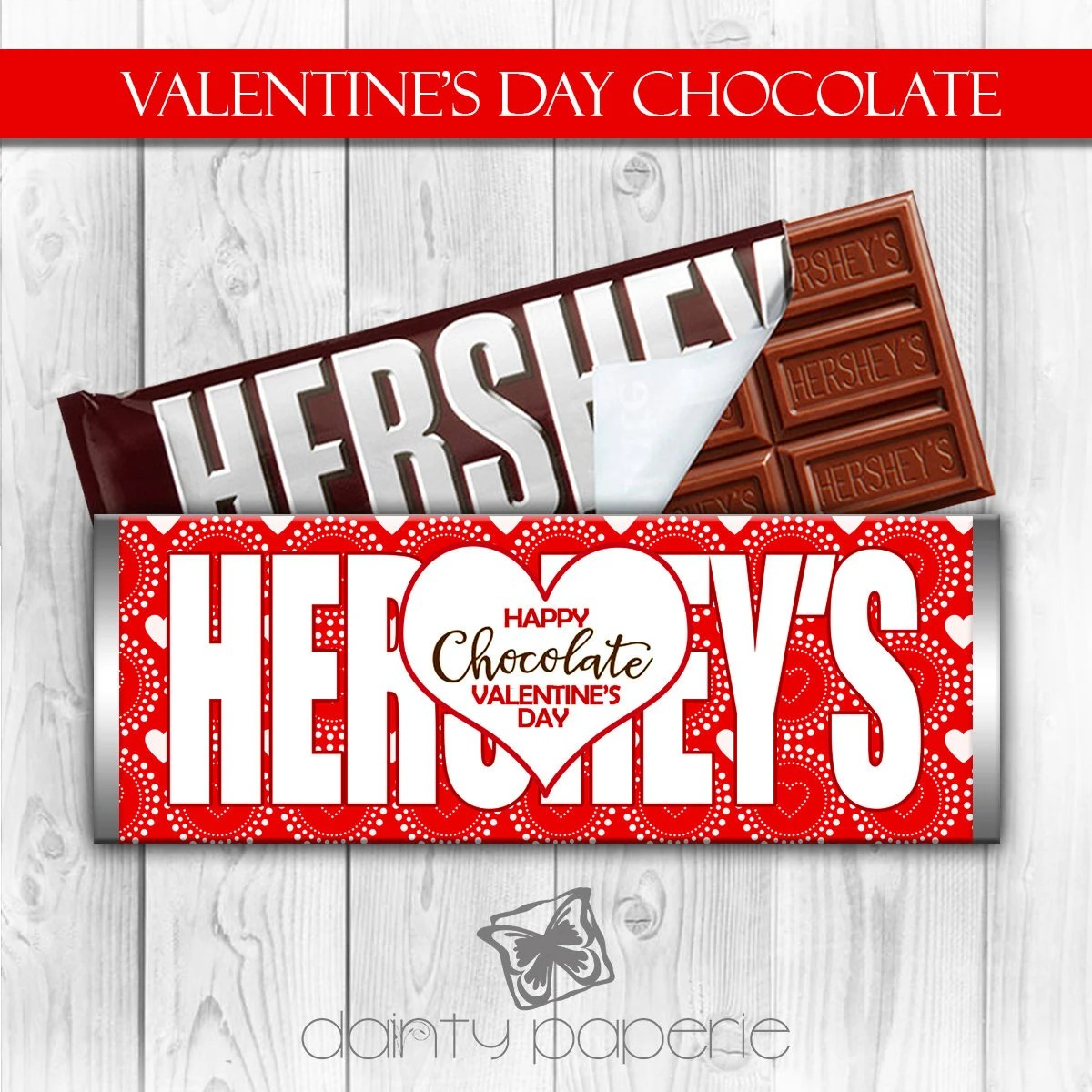 Valentine\u0027s Day Hershey Bar Wrapper red Chocolate Bar Etsy