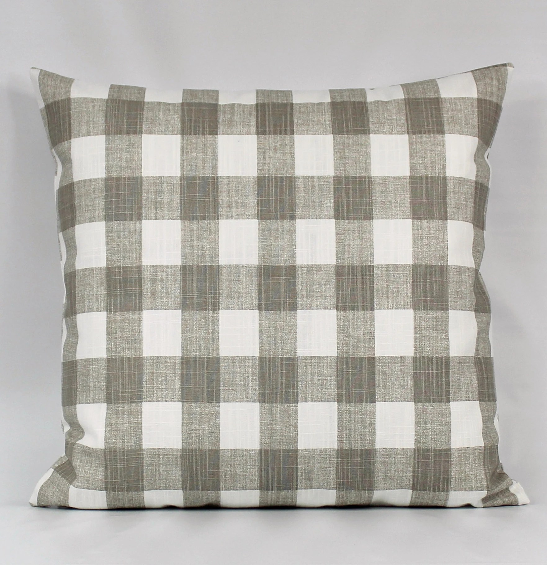 Plaid Taupe Taupe Buffalo Plaid Pillow Cover Tan Buffalo Check Taupe White Throw Pillow Taupe Gingham Pillow Farmhouse 1 5 Inch Squares Zipper