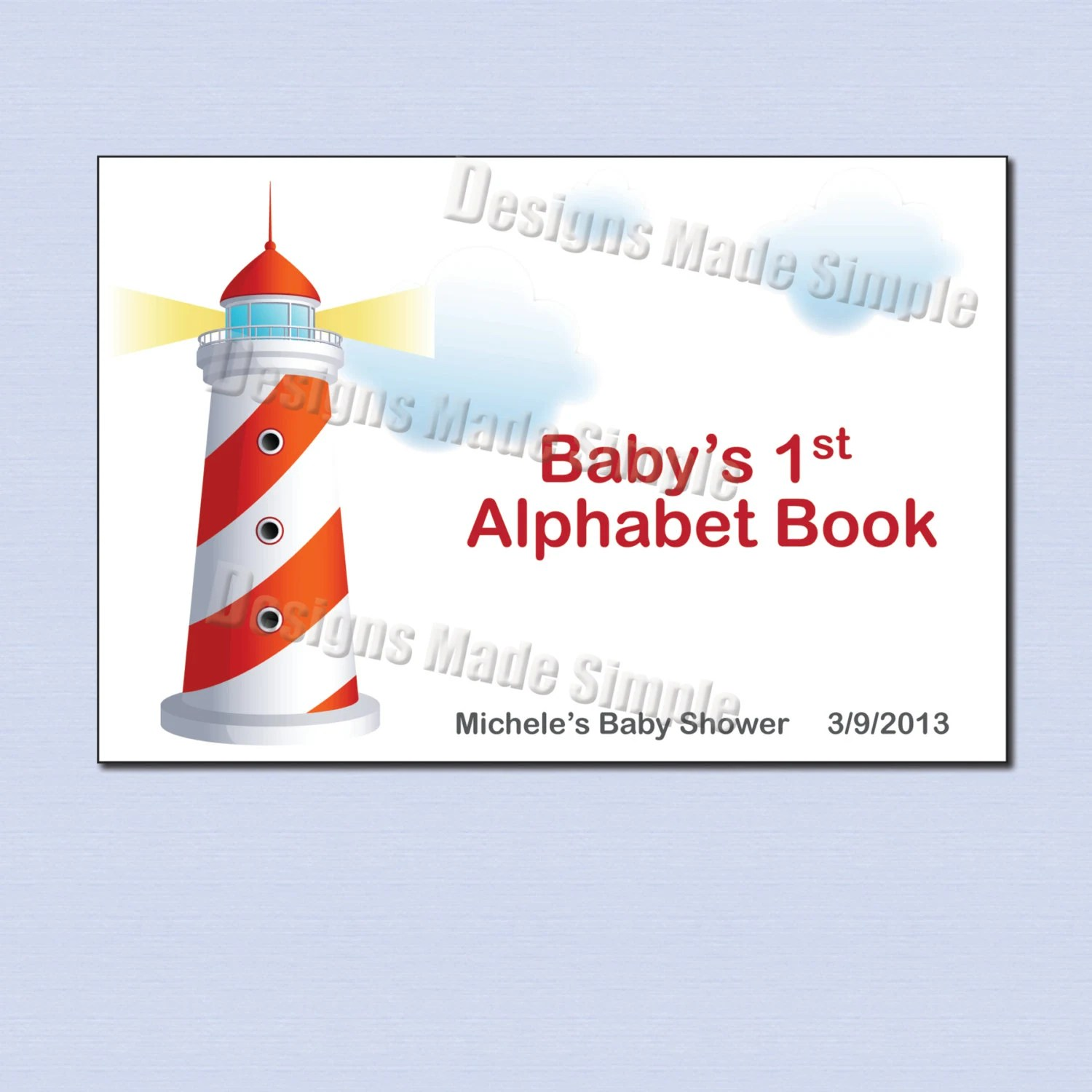 Baby\u0027s First Alphabet Book Nautical Theme Baby Shower Etsy