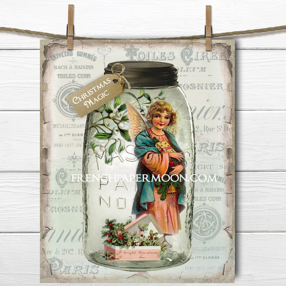 Shabby Mason Jar Christmas Printable Christmas Magic Vintage Etsy
