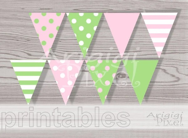 Printable Banner Pennants Pink Green Polka Dot DIY Flag Etsy