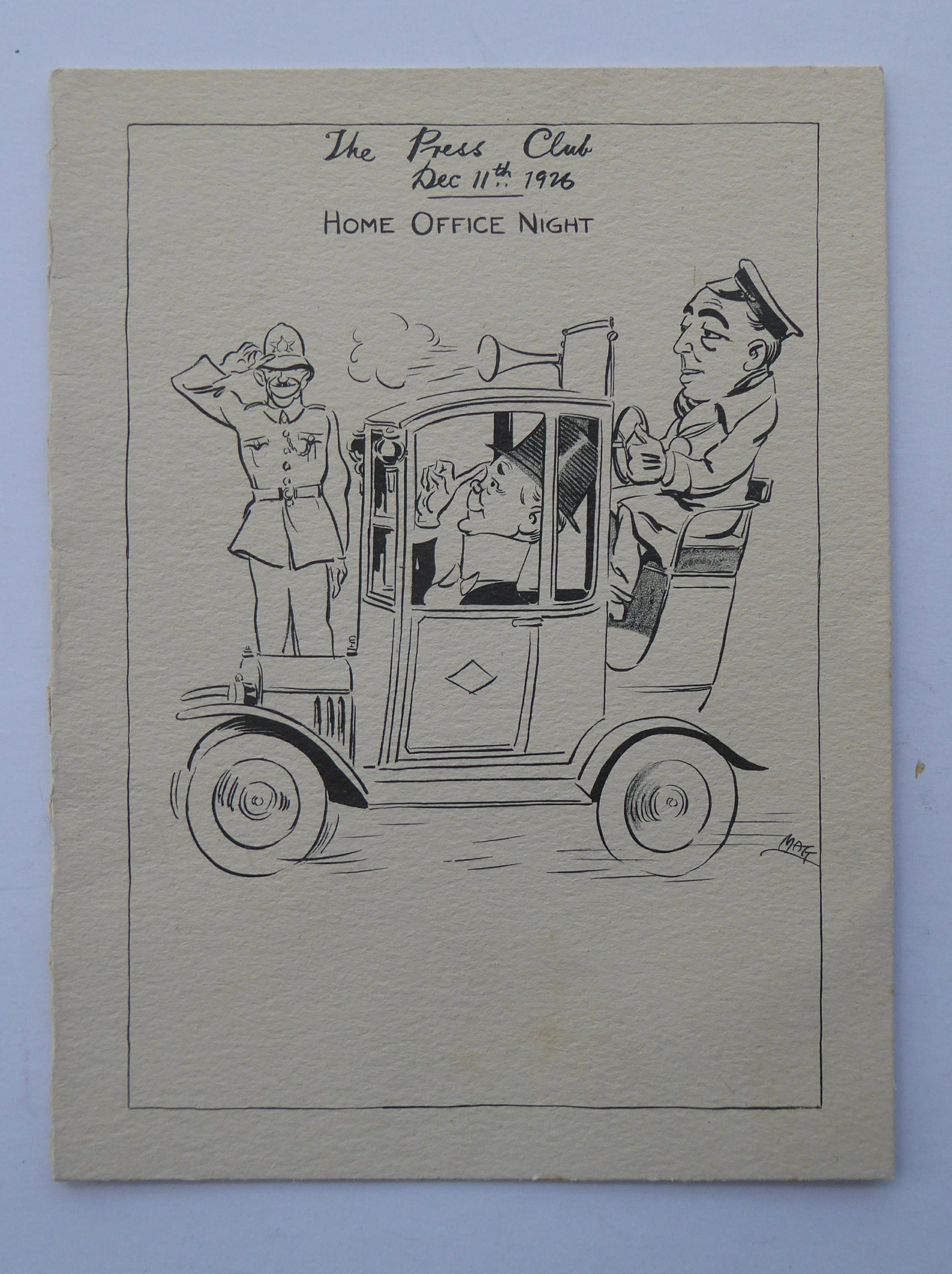 Home Office Club British Society Document 1926 The Press Club Home Office Night Card