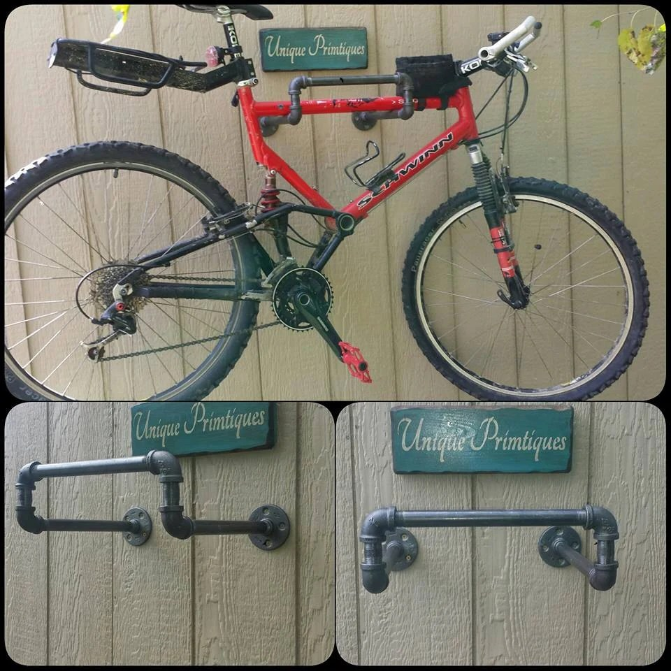 Bike Rack For The Garage Industrial Pipe Metal Bike Rack Garage Shelf Tool Space Saving Storage Laundry Clothes Hanger Custom Sizes Colors By Unique Primtiques