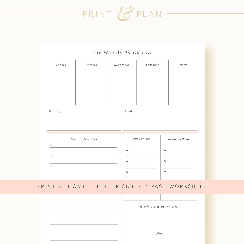 Weekly Planner Printable Weekly Schedule Printable Planner Etsy