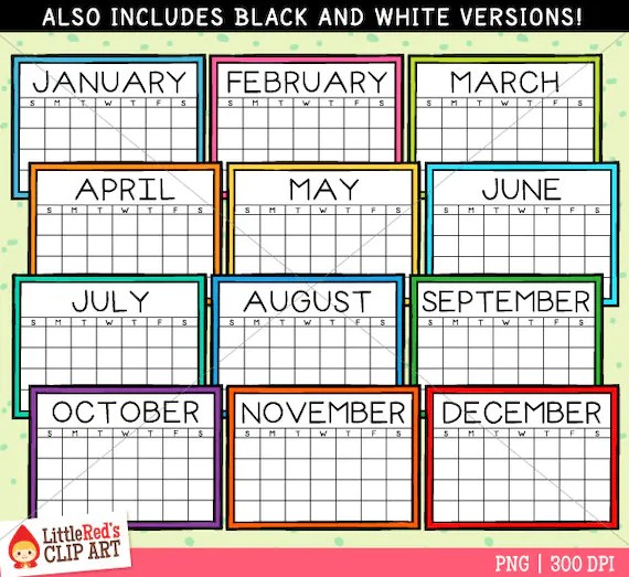 Simple Calendars Clip Art personal and limited commercial Etsy