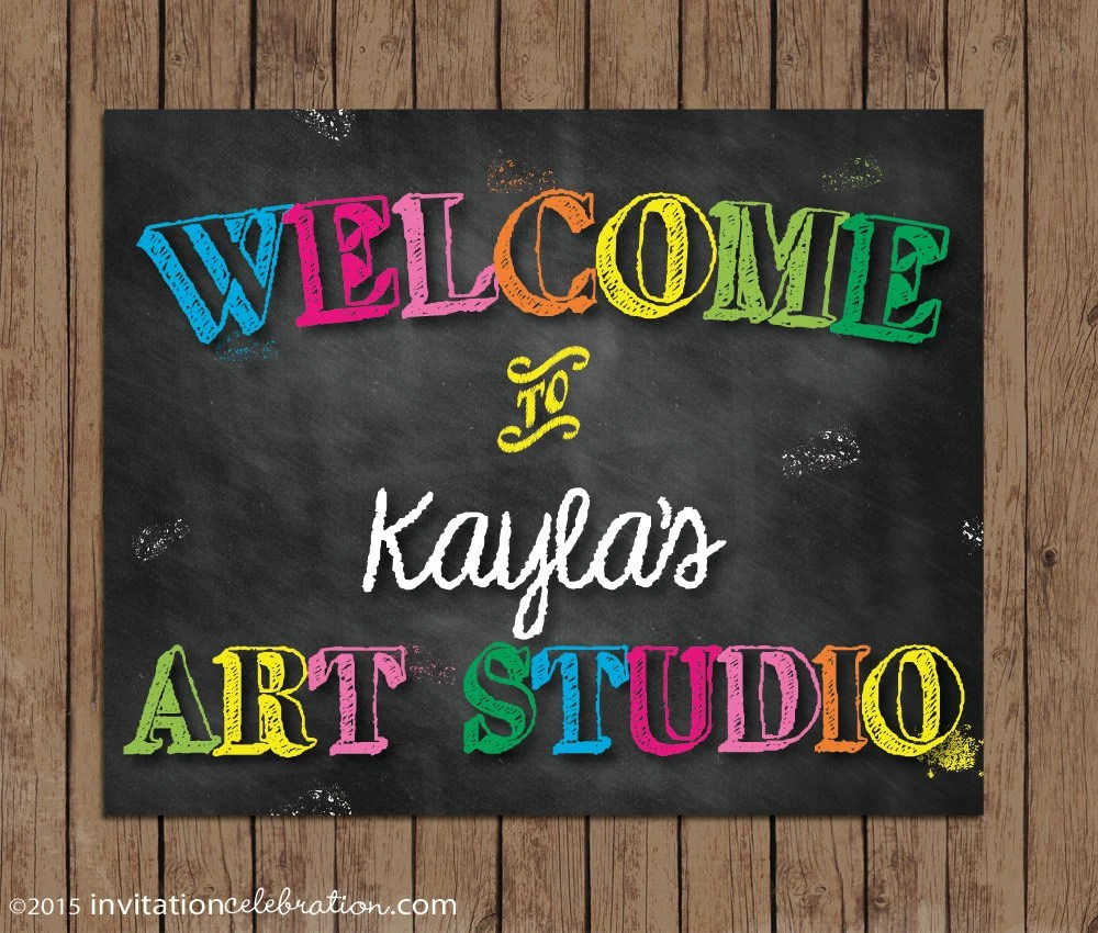 Painting Art Party Welcome Sign - PRINTABLE - Chalkboard - Birthday