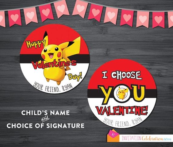 Pokemon Valentine Cards - PRINTABLE - Personalized - Pikachu