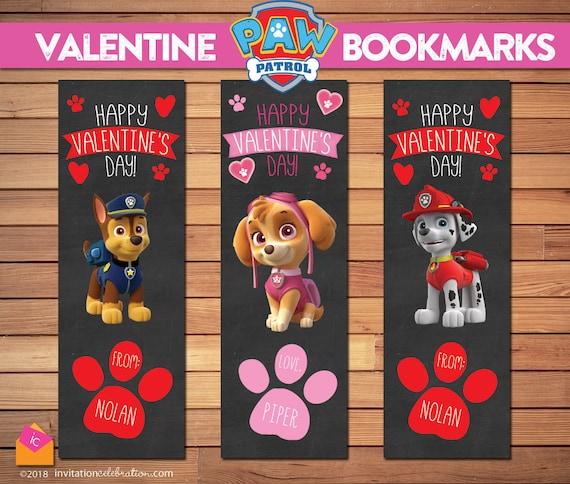Paw Patrol Valentine Bookmarks - PRINTABLE - DIY - Chase - Marshall