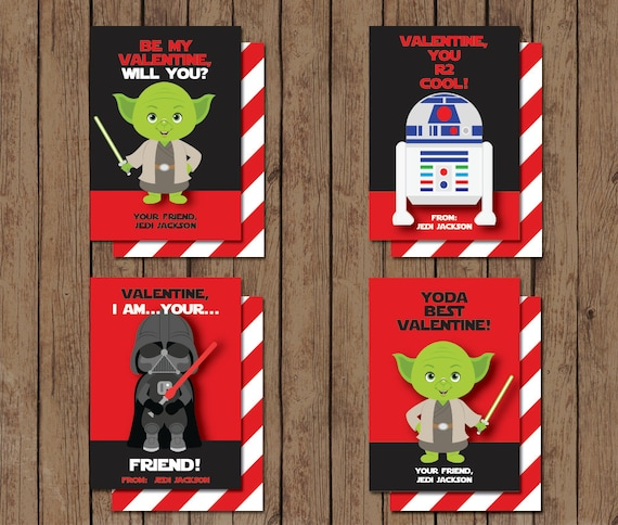 Star Wars Valentine Cards - PRINTABLE - Yoda - R2D2 - Darth Vader
