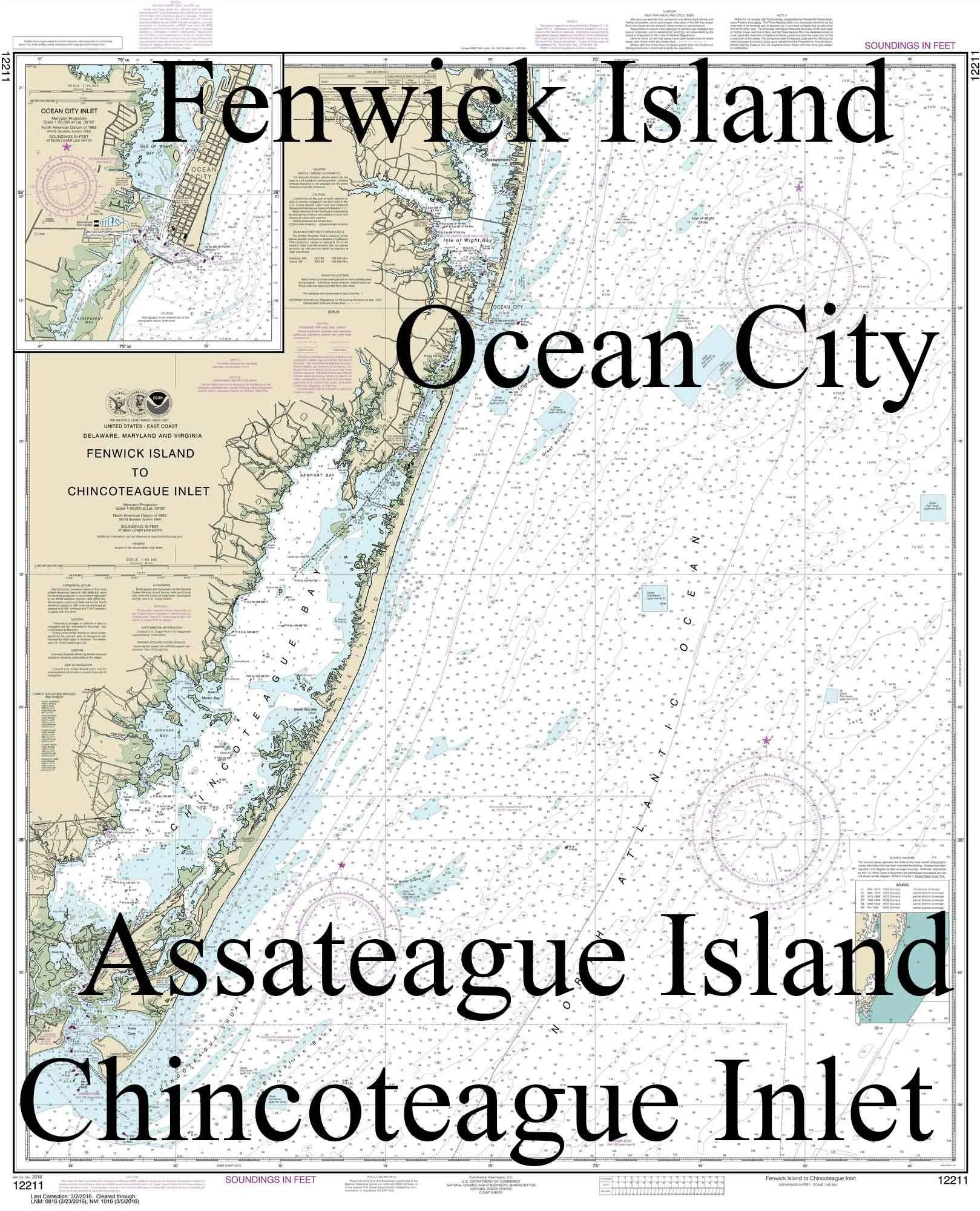 Fenwick Island to Chincoteague Inlet-2014 Nautical Map Etsy