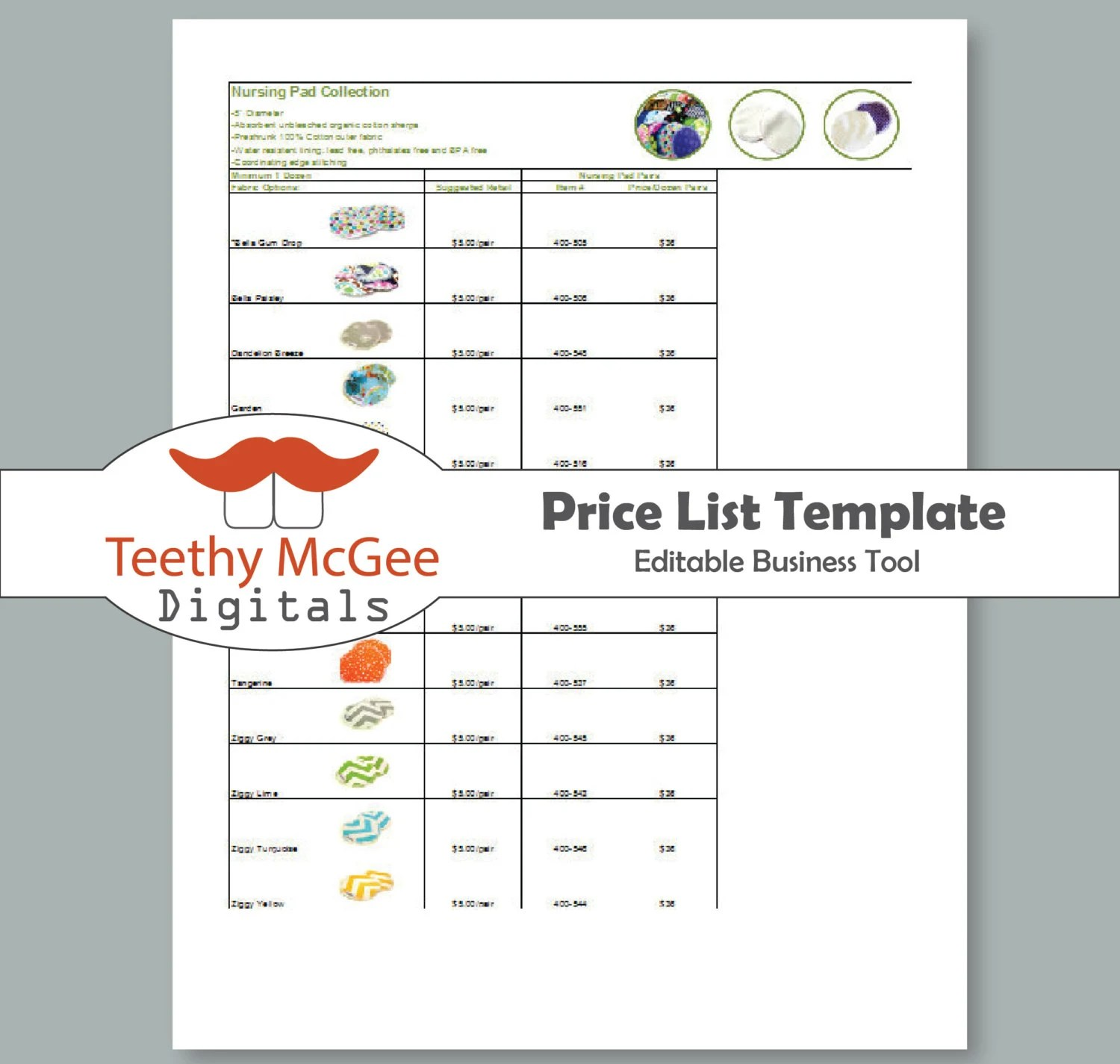 Price List Template Instant Download Editable for Wholesale and
