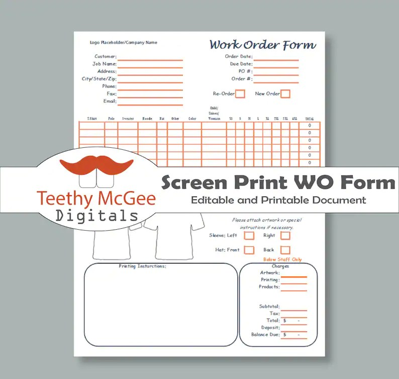 Editable Work Order Form for Screen Printing Instant Etsy