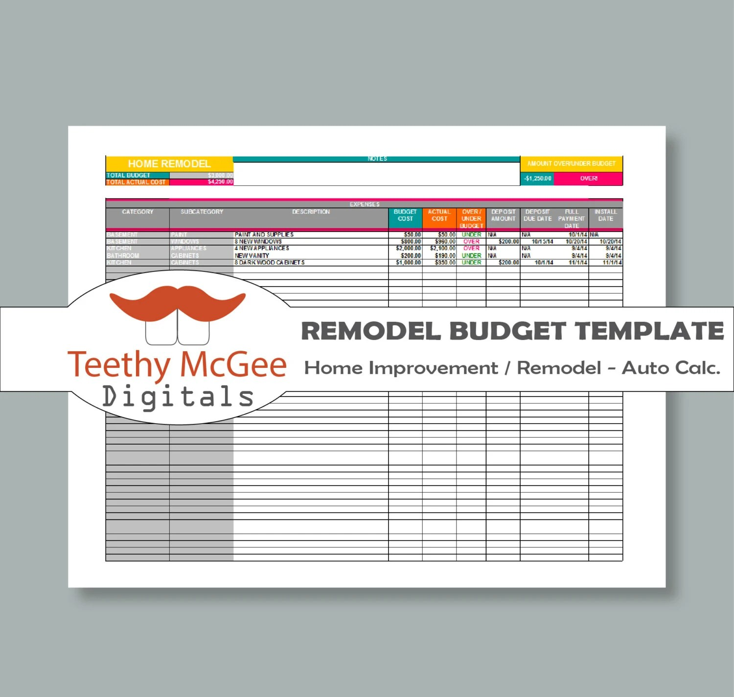 Home Improvement remodel Budget Template Instant Download Etsy