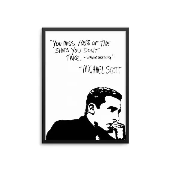 Michael Scott Wayne Gretzky Quote Poster The Office TV Show Etsy