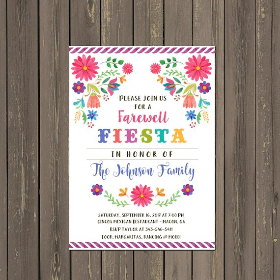 Mexican Fiesta Going Away Party Invitation, Farewell Party