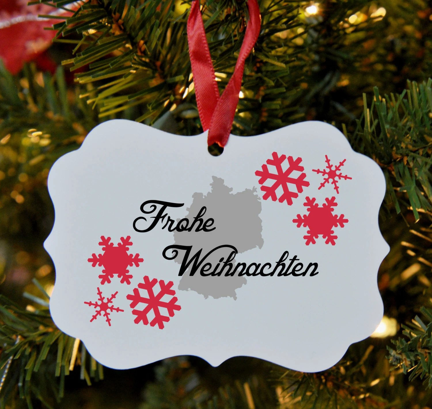 Frohe Weihnachten German Merry Christmas Ornament Germany Frohe Weihnachten