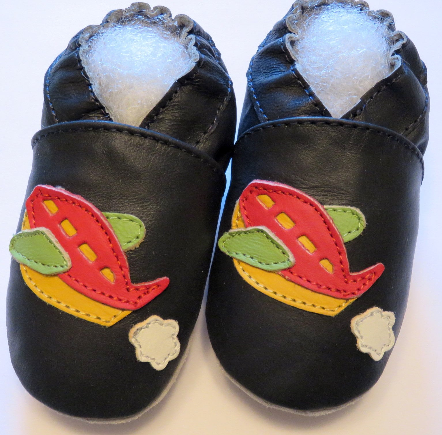 Leder 24 Bimboms Soft Sole Leather Baby Shoes 24 36m Airplane Slippers Krabbelschuhe Leder
